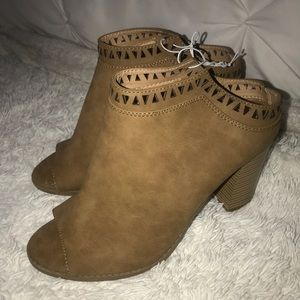 Saddle Open toe booties